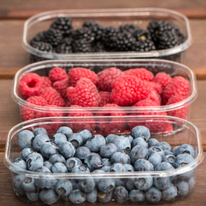 A variety of healthy summer berries.